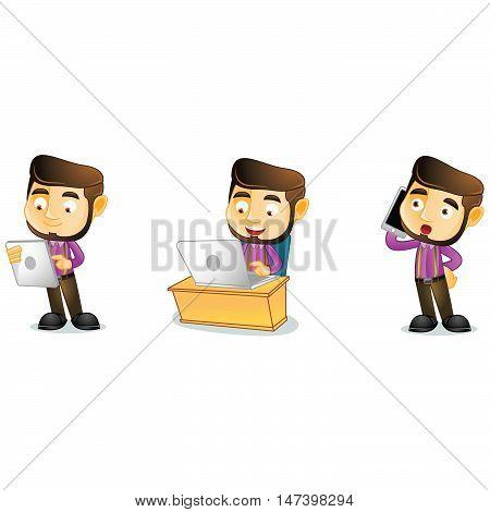 Carpenter with phone mascot vector art illustration