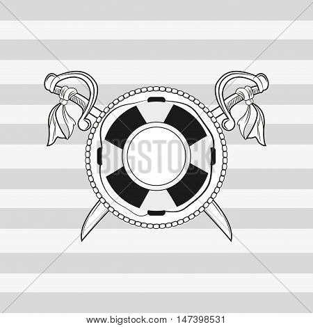 life preserver and crossed swords emblem image vector illustration nautical design
