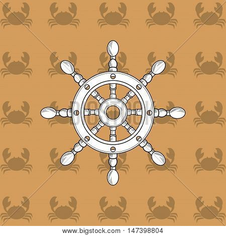 rudder with crab nautical emblem image vector illustration design