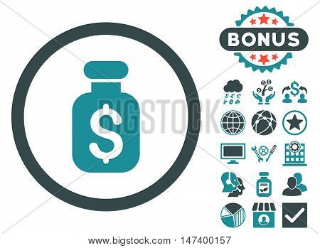 Business Remedy icon with bonus images. Vector illustration style is flat iconic bicolor symbols, soft blue colors, white background.