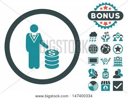 Businessman icon with bonus pictogram. Vector illustration style is flat iconic bicolor symbols, soft blue colors, white background.