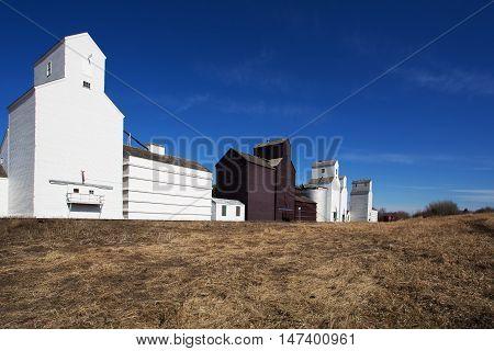 Tall industrial wooden grain elevators beside a railroad
