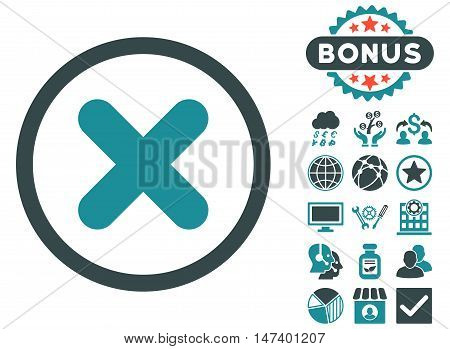 Cancel icon with bonus images. Vector illustration style is flat iconic bicolor symbols, soft blue colors, white background.