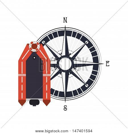 flat design lifeboat and compass  icon vector illustration