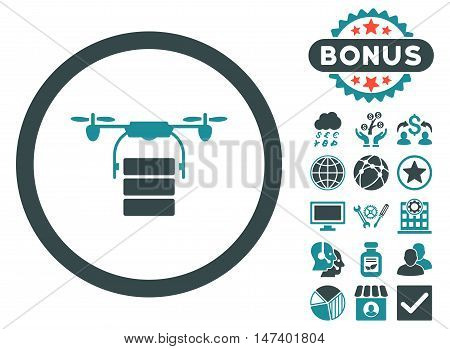 Cargo Drone icon with bonus elements. Vector illustration style is flat iconic bicolor symbols, soft blue colors, white background.
