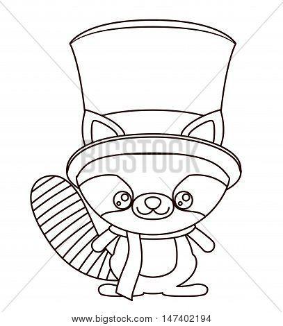 Beaver silhouette cartoon icon. Merry Christmas season decoration figure theme. Isolated design. Vector illustration