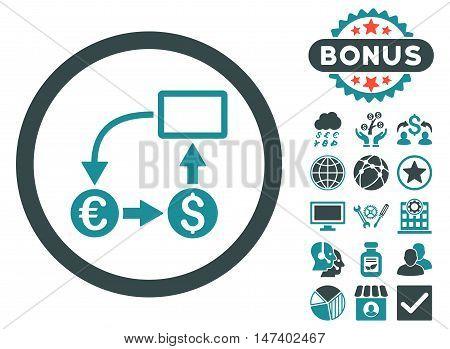 Cashflow Euro Exchange icon with bonus pictures. Vector illustration style is flat iconic bicolor symbols, soft blue colors, white background.