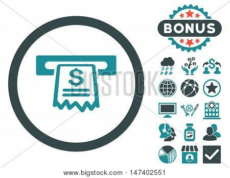 Cashier Receipt icon with bonus symbols. Vector illustration style is flat iconic bicolor symbols, soft blue colors, white background.