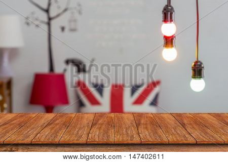 Wood Table Top And Blurred Restaurant Background - Can Used For Display Or Montage Your Products.