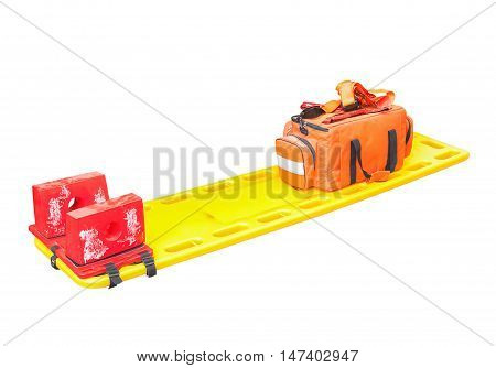 stretcher for emergency paramedic service Emergency medical equipment  on white background clipping path