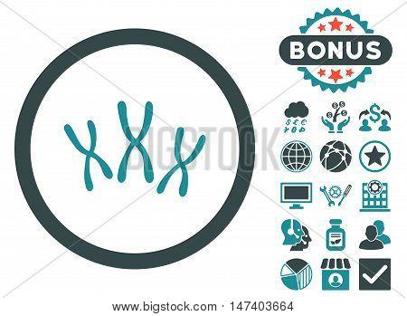 Chromosomes icon with bonus elements. Vector illustration style is flat iconic bicolor symbols, soft blue colors, white background.