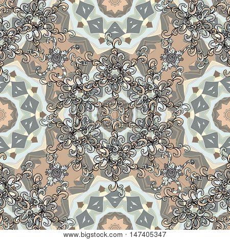 Mandala art. Seamless design vector pattern. Light grey mandala. Indian symbol of universe. Floral Indian style circle mandala. Ethnic textile collection. Hand drawn boho elements.