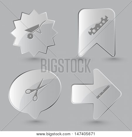 4 images: wheelbarrow, cycle spanner, scissors, spirit level. Angularly set. Glass buttons on gray background. Vector icons.