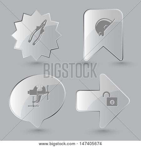 4 images: pliers, hard hat, clamp, opened lock. Industrial tools set. Glass buttons on gray background. Vector icons.