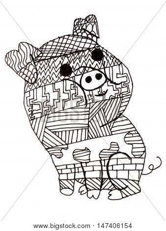 Children's drawing a pig, made in the style of Doodling