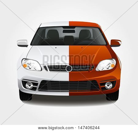 Car paint 3d color vector illustration. Before and after creative concept.
