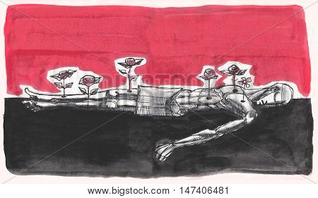 Hand drawn illustration or drawing of a martyr dead man with roses growing from his wounds
