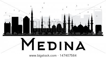 Medina City skyline black and white silhouette. Simple flat concept for tourism presentation, banner, placard or web site. Business travel concept. Cityscape with landmarks
