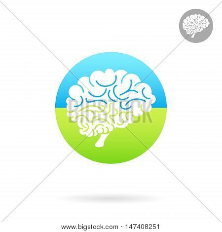 Medical icon of brain on colored round plate side view 2d vector icon medical logo illustration eps 10