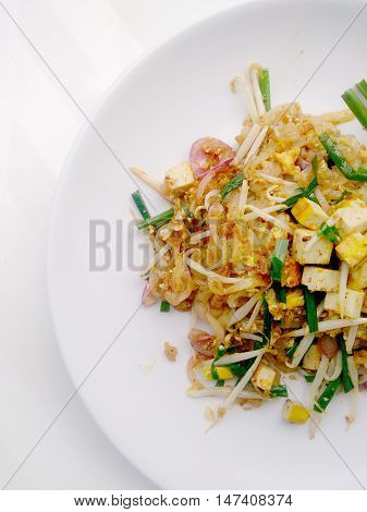 Pad Thai, Stir-fried Rice Noodles With Tofu. The One Of Thailand's National Main Dish. The Popular F