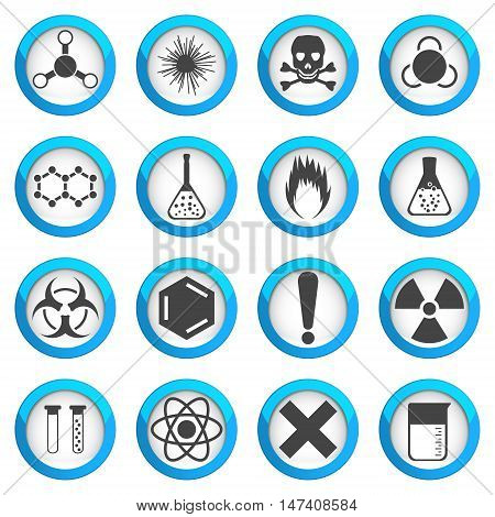 Chemical icons set on light round plates 2d 16 vector signs eps 10
