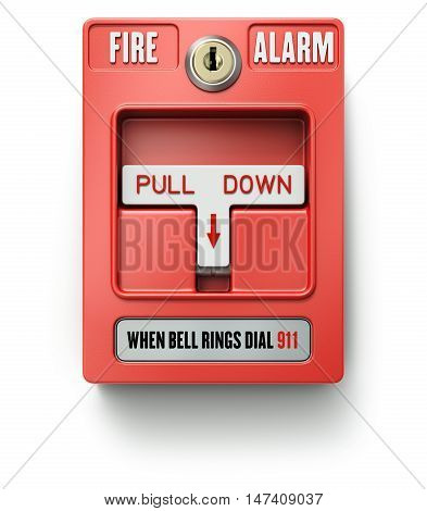 Red fire alarm switch over white background - 3D illustration
