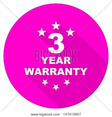 warranty guarantee 3 year flat pink icon