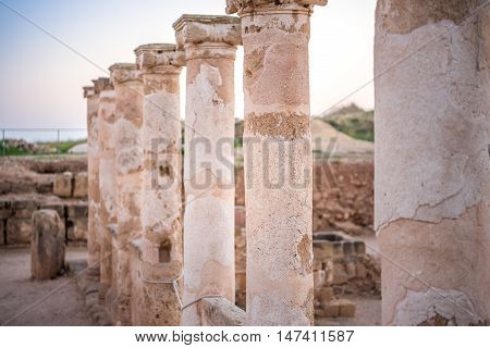 Ancient Columns In Paphos Archaeological Park, Cyprus