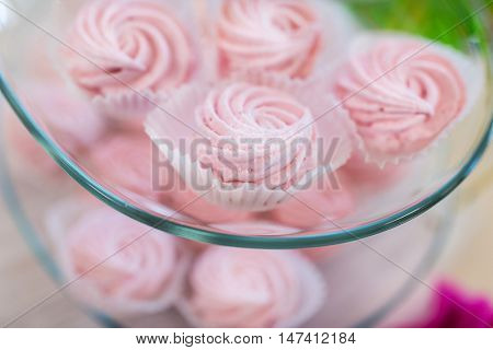 food, junk-food, culinary, holidays and eating concept - close up of sweet custard dessert on glass serving tray