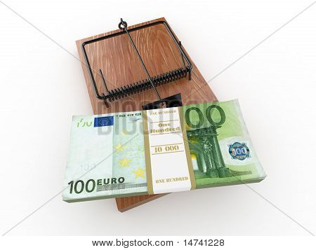 Mousetrap With Euro On White Isolated Background