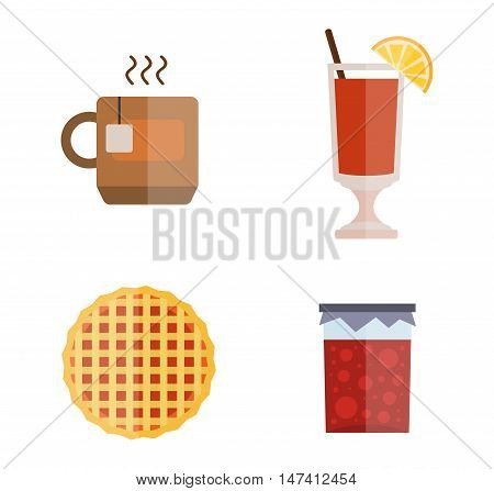 Sweet cake with cup of tea beverage plate delicious vector illustration. Summer cold drink fruit jam lemon slice tea cake. Tasty sweet food snack baked tea cake gourmet breakfast bakery cream.