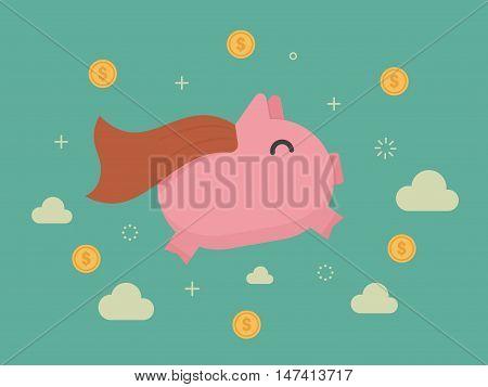 Super piggy bank. Business concept cartoon illustration