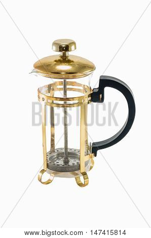 Golden Coffee Maker Press on white background isolated.