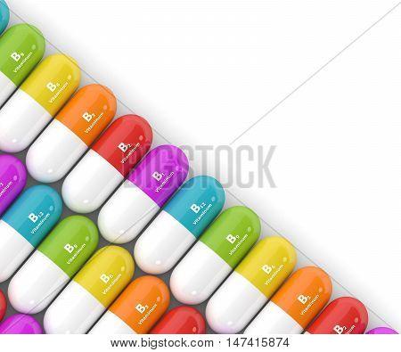 3D Rendering Of Group B Vitamin Pills