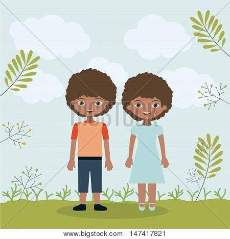 son daughter and brothers icon. Family and relationship theme. Clouds and leaves background. Vector illustration