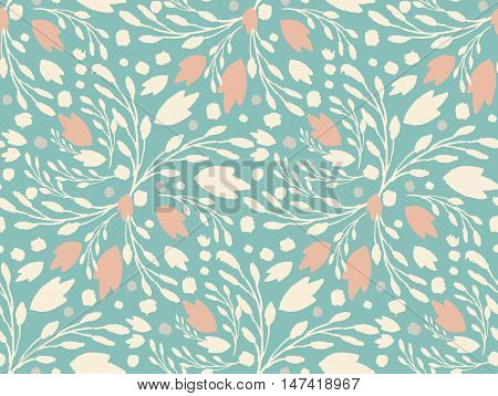 Organic Floral Pattern In Muted Green Color.
