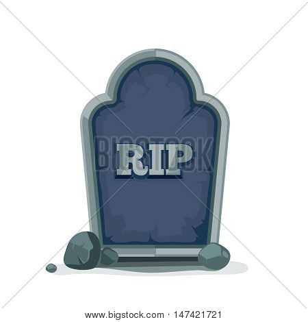 vector illustration of Old gravestone with cracks. Picture isolate on white background. ancient RIP.