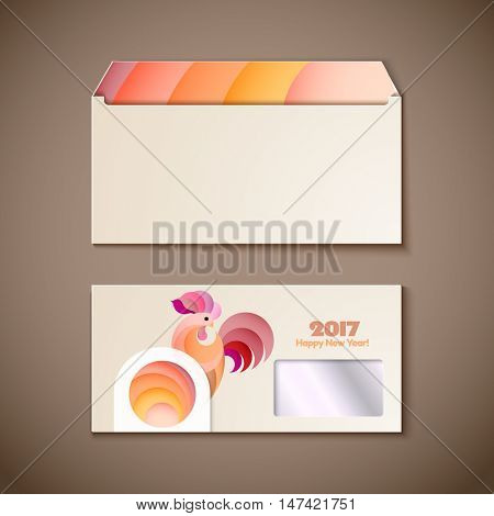 Happy New Year 2017 and christmas template on the wooden background. Year of rooster design for envelope, cover, greeting card. Vector illustration