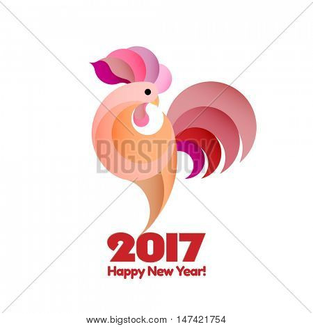 Happy New Year 2017 and christmas background. Winter holidays concept. Year of rooster. Vector illustration
