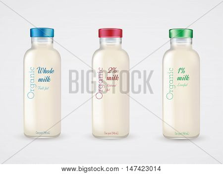 Set of glass bottles with milk. Reduced fat milk. Organic milk