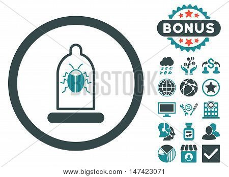 Condom Bug icon with bonus pictures. Vector illustration style is flat iconic bicolor symbols, soft blue colors, white background.