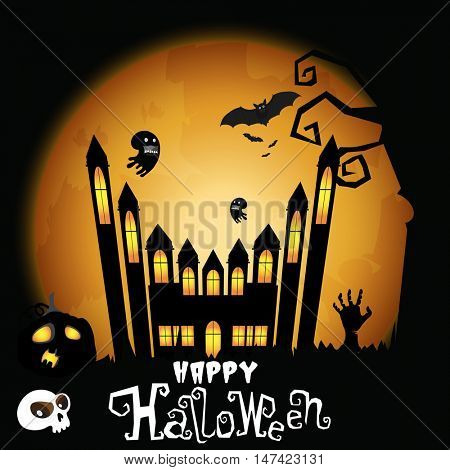 Scary background with big haunted house, pumpkin, flying ghosts, bats and zombie hand in night for Happy Halloween celebration.