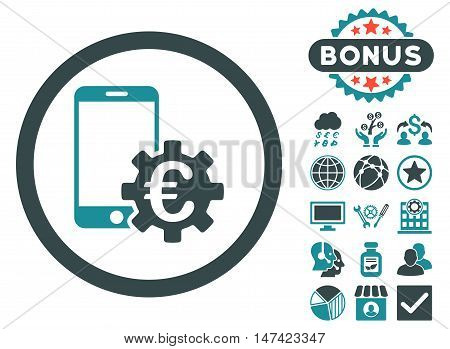 Configure Mobile Euro Bank icon with bonus images. Vector illustration style is flat iconic bicolor symbols, soft blue colors, white background.