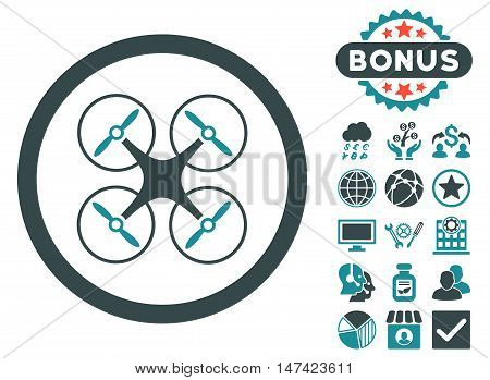 Copter icon with bonus symbols. Vector illustration style is flat iconic bicolor symbols, soft blue colors, white background.