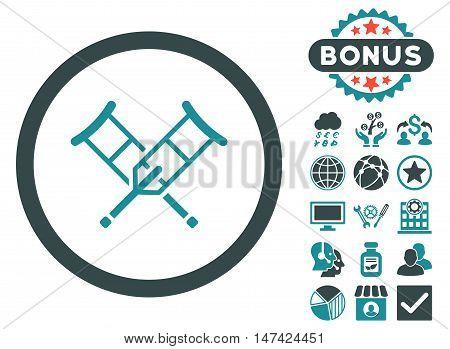 Crutches icon with bonus symbols. Vector illustration style is flat iconic bicolor symbols, soft blue colors, white background.