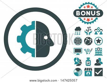 Cyborg icon with bonus pictogram. Vector illustration style is flat iconic bicolor symbols, soft blue colors, white background.