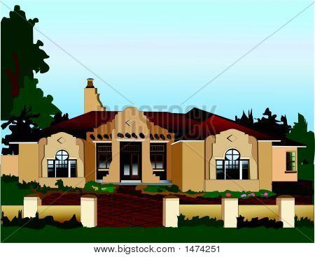 Southwestern Adobe Home.Eps