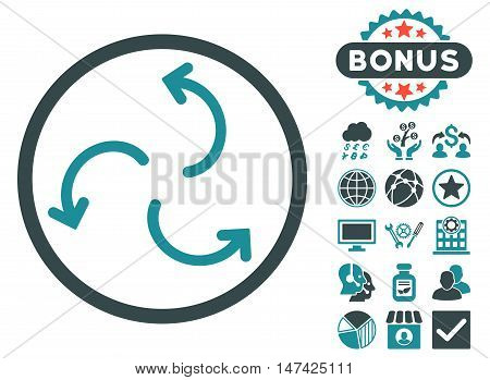 Cyclone Arrows icon with bonus pictogram. Vector illustration style is flat iconic bicolor symbols, soft blue colors, white background.