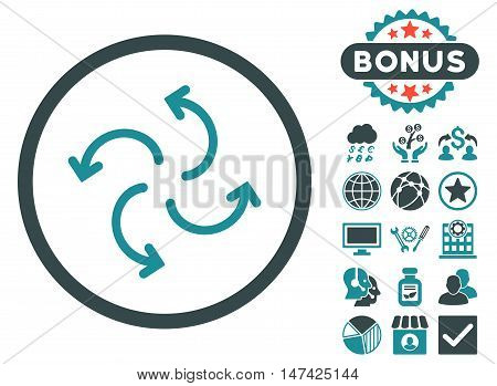 Cyclone Arrows icon with bonus elements. Vector illustration style is flat iconic bicolor symbols, soft blue colors, white background.
