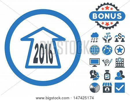 2016 Ahead Arrow icon with bonus symbols. Vector illustration style is flat iconic bicolor symbols, smooth blue colors, white background.